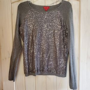 Elle (Kohl's) Gray Sequin Holiday Sweater sz S